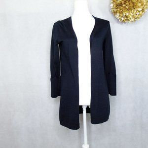 Talbots Open Front Cardigan Knit Sweater Navy XS